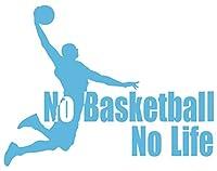 カッティングステッカー No Basketball No Life (バスケットボール)・1 約150mmX約195mm アイスブルー 空色