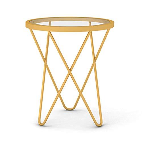 Tables basses Tables Ordic Table D'appoint Fer Forgé Petit Coin Salon Canapé Rond Table D'appoint Table De Chevet (Color : Gold, Size : 47 * 47 * 62cm)
