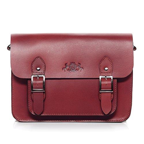SID & VAIN Satchel echt Sattel-Leder Tessa College-Tasche iPad Umhängetasche Ledertasche Damen rot