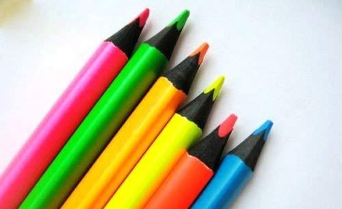 Juego de 6 lápices de colores fluorescentes de color negro, de madera, tamaño jumbo