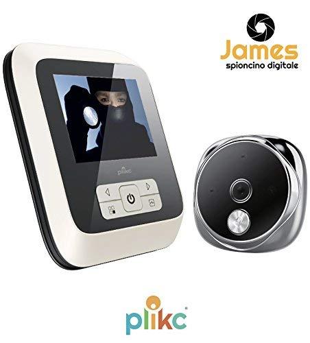 Mirilla electrónica digital ultraplana con visión nocturna y posibilidad de tomar fotos y vídeos - PLIKC JAMES