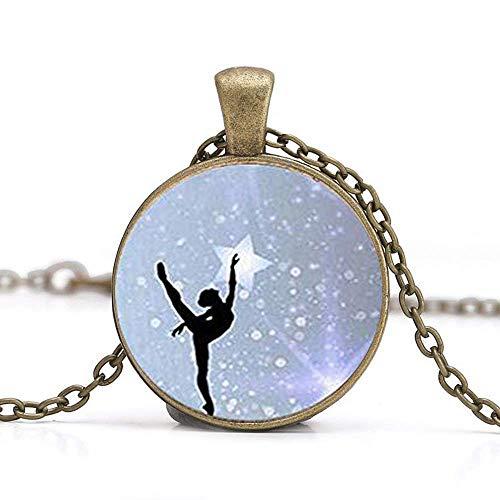 Collana con ciondolo a forma di ballerina con immagine di ballerina e cabochon in vetro, fatto a mano, per donne e ragazze