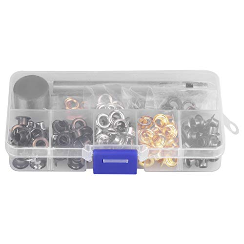 Grommet Kit 5mm x 220pcs/3mm x 420pcs, Grommet Setting Tool Metalen Oogjes met Opbergdoos voor Schoenen Kleding Leer Ambachten, DIY Projecten 4mm*220pcs