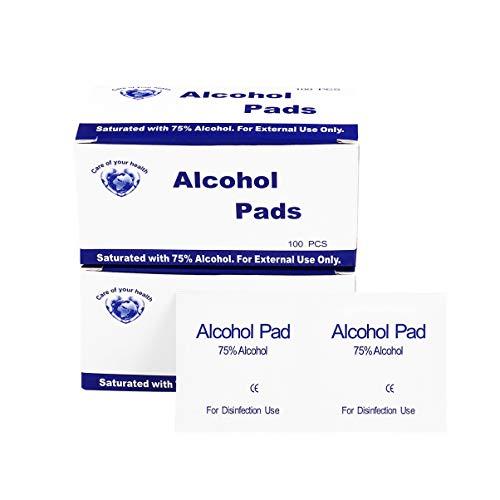 EXCEART Almohadillas de Preparación de Alcohol de 200 Piezas Almohadillas de Gasa con Alcohol Rebanadas de Algodón con Alcohol Hisopos Envueltos Individualmente para El Cuidado de La