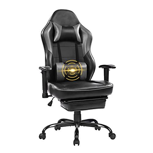 Wolmics Massage Gaming Stuhl - Hohe Rückenlehne Racing Computer Schreibtisch Bürostuhl Drehbarer Ergonomischer Chefsessel aus Leder mit Fußstütze und Verstellbaren Armlehnen 8332Grey