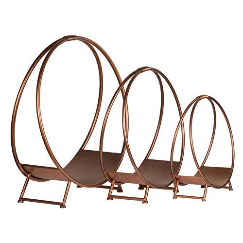Holzscheitenhalter, rund, Kupfer-Finish, erhältlich in S, M und L, gold