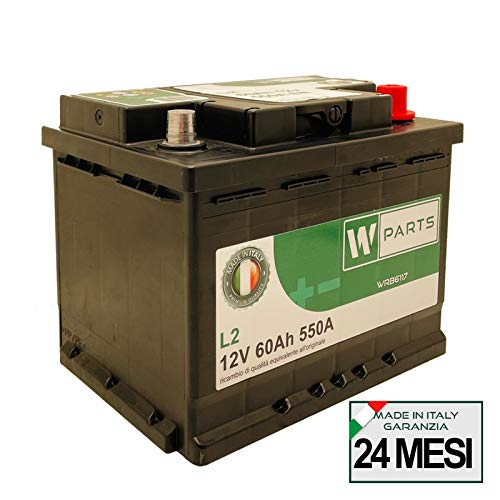W-Parts Batteria Auto 60 Ah - 550 A EN spunto   Garanzia Italia   242 x 175 x 190   60Ah