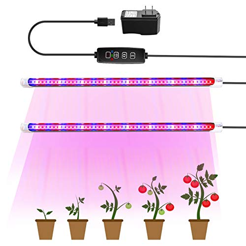 LED Grow Light Strips, TOPLANET LED Growing Light Full Spectrum for Indoor Plants, 48 Led Chips with Auto ON/Off Timer, Plant Growing Lamps for Seedlings, 3 Switch Modes 10 Brightness Levels (2 in 1)