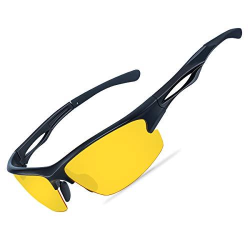 Occhiali per Guida Visione Notturna Uomo Donna -Antiriflesso Occhiali Lenti Gialle Polarizzati per Visione Notturna con Protezione UV400 per Guida Corsa Ciclismo, Naselli Regolabili
