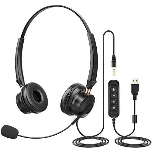 PC Headset mit Mikrofon 3,5mm Klinke Headset Handy USB Business Headset mit Noise-Cancelling-Mikrofon & Lautstärkeregler,Chat Headset für Skype,Homeoffice,e-Learning und Musik, Online-Kurse