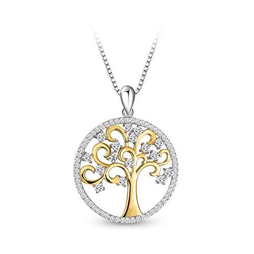 T400 Jewelers Collana per Donna Argento 925 Albero della Vita con Zirconi Regali per Ragazze Donne, Lunghezza 45+5cm