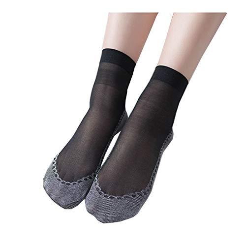 Hocaies Damen Socken Feinstrumpfsöckchen Nylon Elastische Strümpfe Socken Transparente Kristall Kurze Socken 10 Paar (Schwarz 10 Paar)