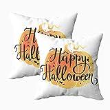 Fundas de almohada, 2 piezas de alegre Halloween acuarela calabaza fondo escrito 45.7 x 45.7 cm, fundas de almohada para decoración del hogar, fundas de almohada con cremallera para sofá o sofá