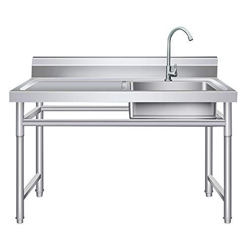Fregadero para uso general de acero inoxidable 304, fregadero culinario de tina de lavandería de grado comercial con grifo giratorio de 360 °, para exteriores, interiores, garaje, cocina, lavander
