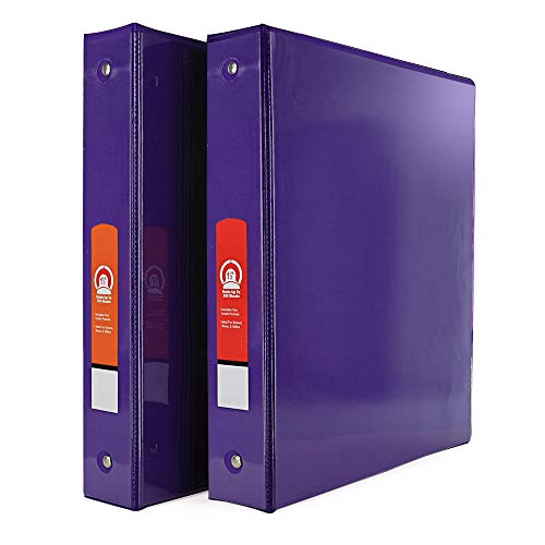 """Emraw Super Great 1 1/2"""" 3-Ring View Binder with 2-Pockets - Available in Purple - Great for School, Home, & Office (2-Pack)"""