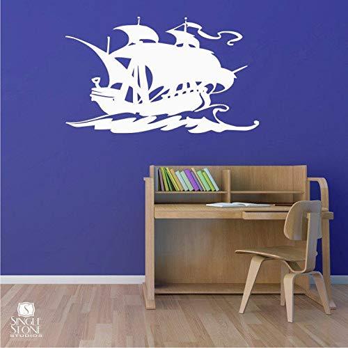 Tamengi Vinilo adhesivo para pared, diseño de barco pirata, decoración para el hogar, decoración personalizada para dormitorio, sala de estar, oficina, baño, 76,2 cm