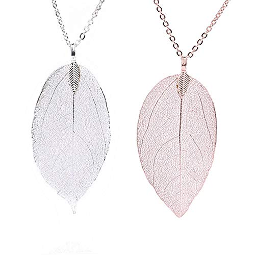 Mendom 2 piecesLong Leaf Filigree Necklace Pendant Necklaces Delicate Lightweight Real Natural Filigree Fashion Jewelry for Wome,Thanksgiving Christmas Gift