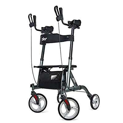 Zler Rolling Walkers for Seniors, Stand Up Rollator Walker with Seat and Big Wheels, Folding Walker Back Erect Rolling Mobility Walking Aid with Backrest Padded Armrests for Elderly, Seniors Adults by zler