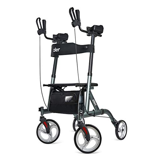 """Zler Upright Walker, Tall Walker with 10"""" Front Wheels, Stand Up Folding Rollator Walker Back Erect Rolling Mobility Walking Aid with Backrest and Padded Armrests for Elderly, Seniors and Adults, Gray"""