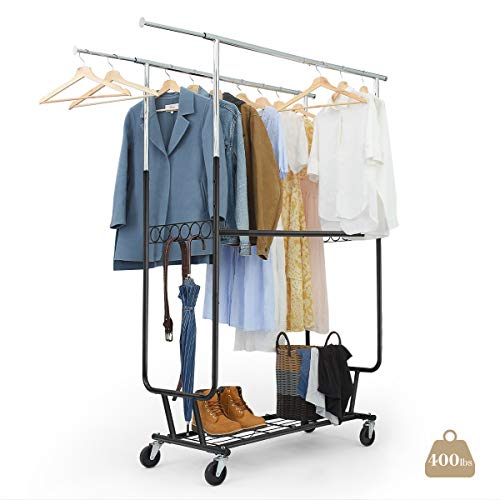 LIFEFAIR Clothing Garment Rack Double Rail Heavy Duty Rolling Clothes Rack with Wheels and Bottom Shelves Capacity 400 lbs Hanging Clothes Organizer Stand Rack