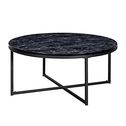 FineBuy Tavolino Salotto Aspetto del Marmo Tavolo da Soggiorno 80x80x36 cm Nero | Tavolinetto Rotondo Moderno | Tavolino da caffè