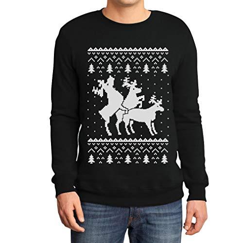 Rehntier Dreier - Lustiger Herren Weihnachtspullover Sweatshirt X-Large Schwarz