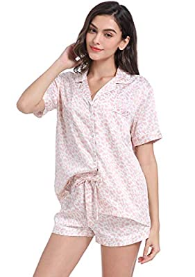 Serenedelicacy Women's Silky Satin Pajamas Short Sleeve PJ Set Sleepwear Loungewear (Medium, Blush Leopard)