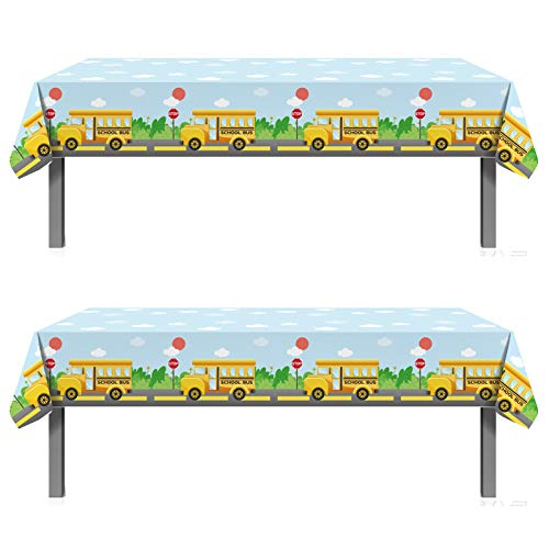 2PCS Welcome Back To School Party Supplies Plastic Table Cover - First Day of School Party Decorations Favors Supplies Plastic Table Cloth Runner(86.61'' x 51.18'')