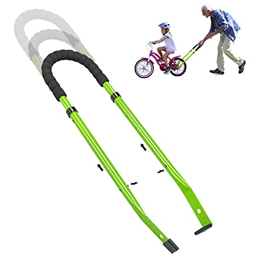 Children Bike Training Handle Bicycle Accessories for Kids, Bike Balance Push Bar for Kids, Safety Trainer Handle for Toddler Bike (Green)