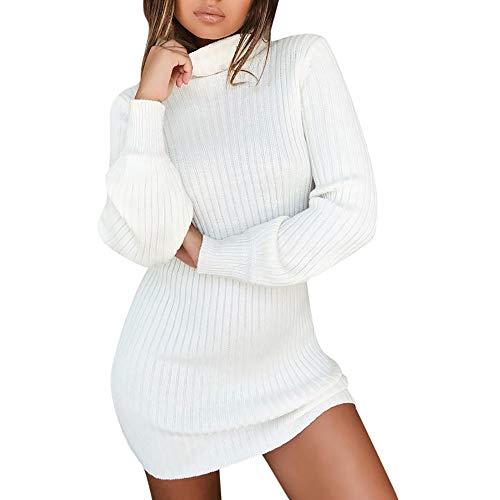 Goosuny Damen Pullover Kleid Casual Hoher Kragen Elastisch Langarm Winterkleid Einfarbig Rollkragen Jumper Minikleid Kurze Kleider Modische Elegante...