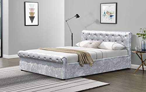 Comfy Living Crushed Velvet Diamante Chesterfield Sleigh Bed Frame in Silver SINGLE DOUBLE KING (3ft Single, No Mattress)