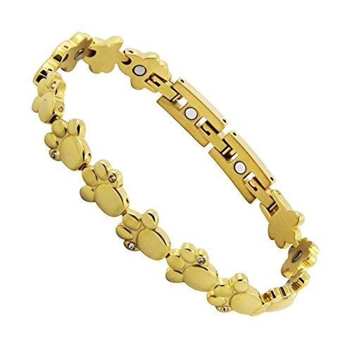 Gouden dierpoot magneet armband poten tatten 24k verguld met glinsterende Swarovski kristallen Energetix 4you 2153 Magnetix Fashion S-XL