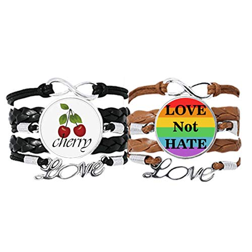 Transgender Bisexuals Love Not Hate LGBT Bracelet Hand Strap Leather Rope Cherry Love Wristband Double Set