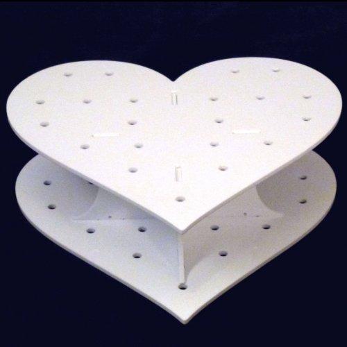 Supercoola skapelser hjärtformade vita akrylkakor popstativ 200 mm bred x 65 mm hög x 160 mm djup 15 hål 5 cm ungefär isär, 21 x 20 x 10 cm