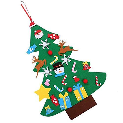 Queen.Y DIY Filz Weihnachtsbaum Set Wand Weihnachtsbaum mit Hängenden Seil + 26 Ornamente für Kleinkinder Kinder Urlaub Dekorationen