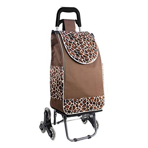 NYDZDM Carrito plegable para remolque para el hogar, portátil, para escalada, carrito de la compra, carro pequeño, carrito de equipaje (color marrón