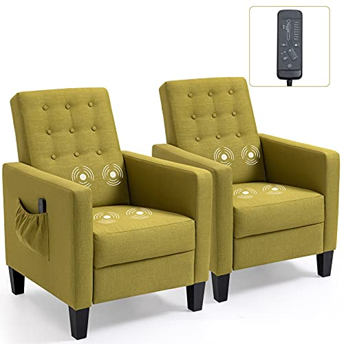 ECOTOUGE Accent Chairs for Living Room Set of 2, Ergonomic Recliner with 4 Massage Points, Push Backrest Single Sofa for Bedroom, Green
