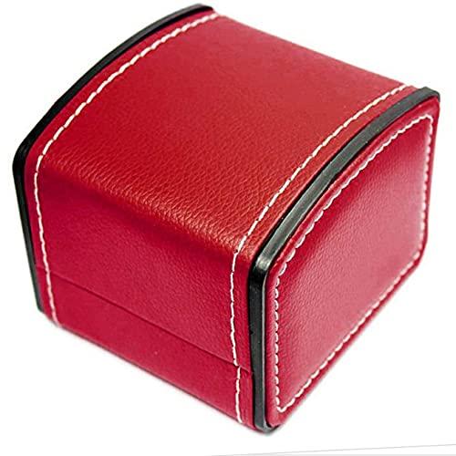 SMOOTHLY Caja de Regalo, Reloj de Lujo de Cuero de imitación Winder Winder Soporte de Almacenamiento Pulsera Brazalete Joyería Reloj Caja Caja de Regalo Dark Red Premium Calidad