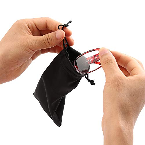 ICYANG Eyeglass Pouch 20 Pieces Sunglasses Soft Cloth Dust Cleaning Optical Glasses Storage Pouch Sack Carry Bag Portable Microfibre Drawstring Glasses Bag/Gadget/Phone Pouch - Black