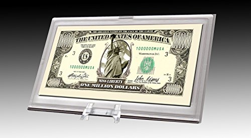 Million Dollar Bill Desktop Collectible - Comes in Currency Stand - Beautiful Best Quality Office Desk Top Accessory Gift - Toy, Prank, Gag Gift