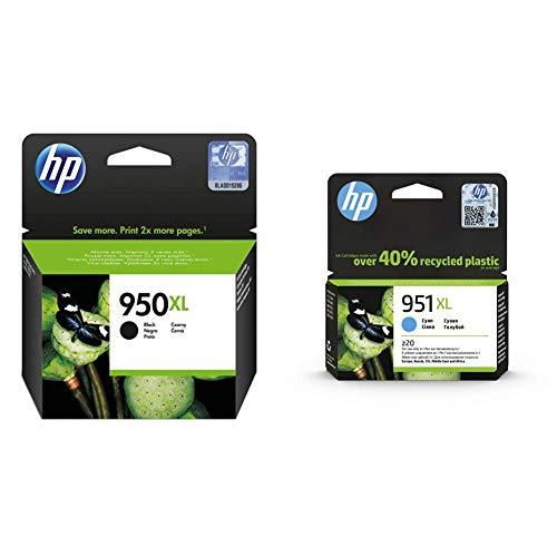 HP 950XL CN045AE Negro, Cartucho de Alta Capacidad Original, de 2.300 páginas, para impresoras Officejet Pro Serie + 951XL CN046AE Cian, Cartucho de Alta Capacidad Original, de 1.500 páginas