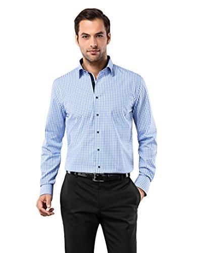 Vincenzo Boretti Herren-Hemd bügelfrei 100% Baumwolle Regular-fit kariert New-Kent Kragen - Männer lang-arm Hemden für Anzug Krawatte Business Hochzeit Freizeit blau/weiß 39/40