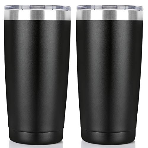 20oz Tumbler Double Wall Vacuum Insulated Coffee Mug Stainless Steel Coffee Cup with Lid, Travel Mug Works Great for Ice Drink, Hot Beverage (2 pack, Black)