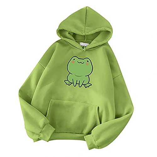 Aniywn Women Hooded Sweatshirts Cute Skateboard Frog Printed Long Sleeve Hoodies Casual Pullover Tops with Pockets Green