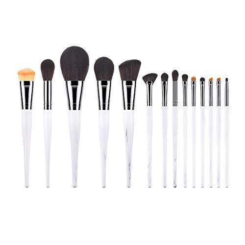 Demarkt Lot de 14 pinceaux de maquillage pour fond de teint, fard à paupières, pinceau à lèvres, pinceau à poudre, pinceau à lèvres avec manche en bois véritable blanc