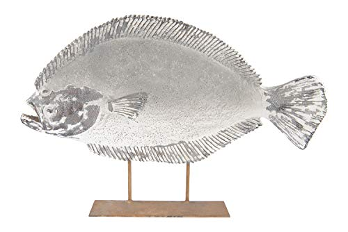 Creative Co-op Magnesia Halibut Fish on Metal Stand (Hangs or Sits) Décor, Grey