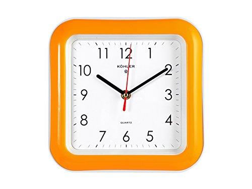 Home Orologio Quadro da Parete, 22 cm, Arancione/Bianco, 23x23x4 cm