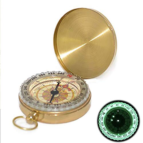 FU LIAN Pure Copper Clamshell Compass, Luminous Pocket Watch Compass, Stylish Appearance, Small Easy to Carry, Portable Outdoor Multi-Function Metal Measuring Ruler Tool