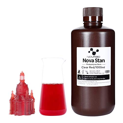 NOVA3D LCD UV 405nm Rapid 3D Resin for LCD DLP 3D printer Photopolymer Resin,1000g Clear Red