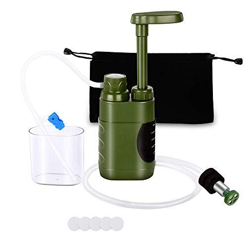 Lixada Wasserfilter 5000L Tragbarer Camping Tischwasserfilter Entfernt 0,01 Mikron Dicke Virus Schwermetall mit Aufbewahrungstasche für Notfälle im Freien,Camping, Wandern